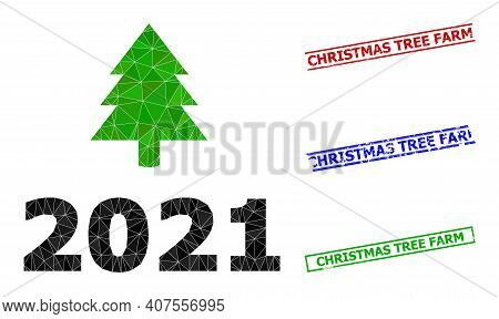 Triangle 2021 Fir Tree Polygonal Icon Illustration, And Scratched Simple Christmas Tree Farm Rubber