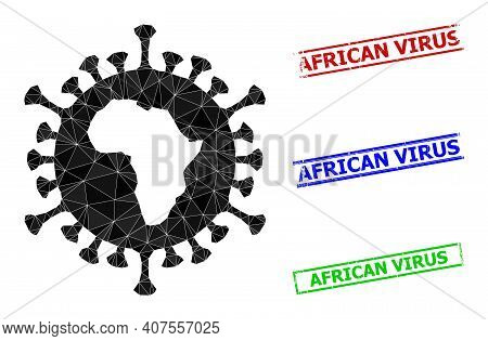 Triangle African Virus Polygonal Icon Illustration, And Scratched Simple African Virus Stamps. Afric
