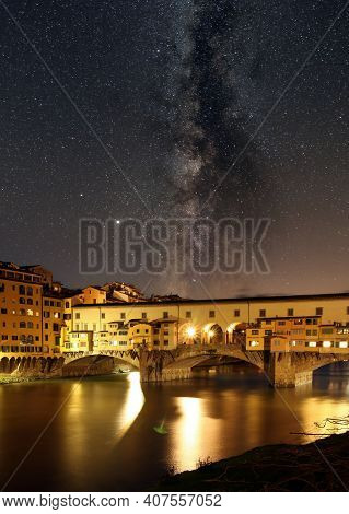 Ponte Vecchio At Night With Milky Way