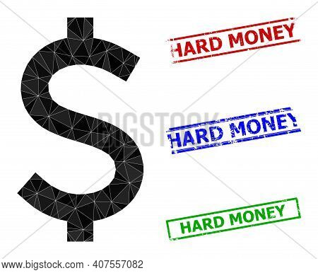 Triangle American Dollar Polygonal Icon Illustration, And Rubber Simple Hard Money Stamps. American