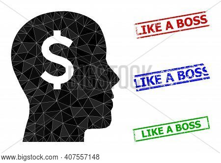 Triangle Banker Head Polygonal Icon Illustration, And Grunge Simple Like A Boss Stamp Imitations. Ba