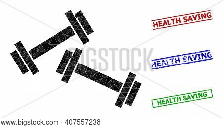 Triangle Barbells Polygonal 2d Illustration, And Scratched Simple Health Saving Stamp Seals. Barbell