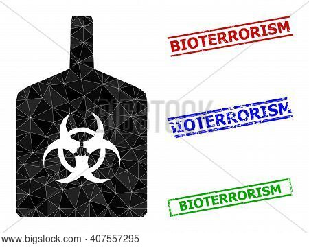 Triangle Biohazard Bottle Polygonal Icon Illustration, And Unclean Simple Bioterrorism Stamp Seals.