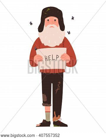 Homeless. A Shaggy Man In Dirty Rags. Character For Infographics