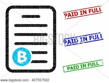 Triangle Bitcoin Pricelist Polygonal Icon Illustration, And Scratched Simple Paid In Full Watermarks