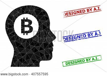 Triangle Bitcoin Thinking Polygonal Icon Illustration, And Distress Simple Designed By A.i. Seals. B