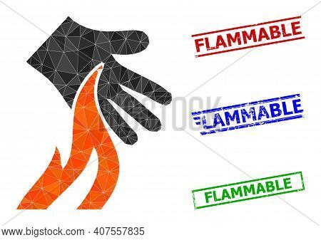 Triangle Burn Hand Polygonal Icon Illustration, And Textured Simple Flammable Stamp Imitations. Burn