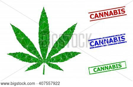 Triangle Cannabis Polygonal Icon Illustration, And Scratched Simple Cannabis Rubber Seals. Cannabis