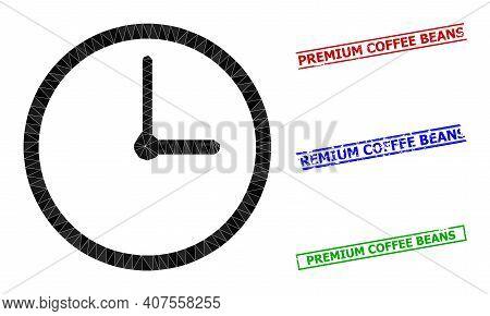 Triangle Clock Polygonal Icon Illustration, And Rough Simple Premium Coffee Beans Seals. Clock Icon
