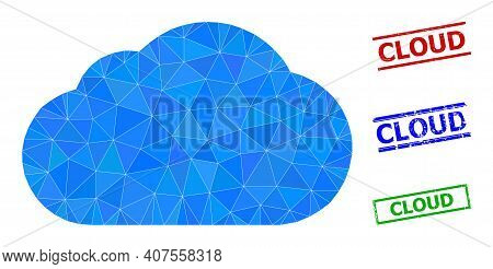 Triangle Cloud Polygonal Icon Illustration, And Rough Simple Cloud Stamp Prints. Cloud Icon Is Fille