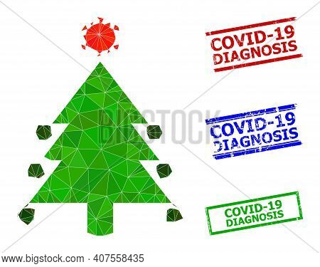 Triangle Coronavirus Fir-tree Polygonal Icon Illustration, And Scratched Simple Covid-19 Diagnosis S