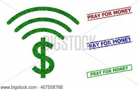 Triangle Dollar Emission Polygonal Symbol Illustration, And Rubber Simple Pray For Money Rubber Seal