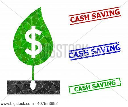 Triangle Dollar Sprout Polygonal Icon Illustration, And Rubber Simple Cash Saving Seals. Dollar Spro