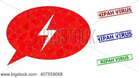 Triangle Emergency Message Polygonal Icon Illustration, And Rubber Simple Nipah Virus Rubber Seals.
