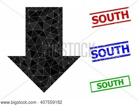 Triangle Fall Down Arrow Polygonal Icon Illustration, And Grunge Simple South Seals. Fall Down Arrow