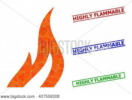 Triangle Fire Polygonal Icon Illustration, And Rubber Simple Highly Flammable Watermarks. Fire Icon