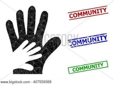 Triangle Friend Hands Polygonal Icon Illustration, And Rough Simple Community Watermarks. Friend Han