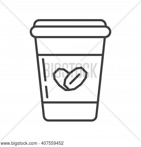 Oatmeal Yogurt Icon In Outline Style. Porridge In Plastic Container Symbol. Ereal And Fast Breakfast