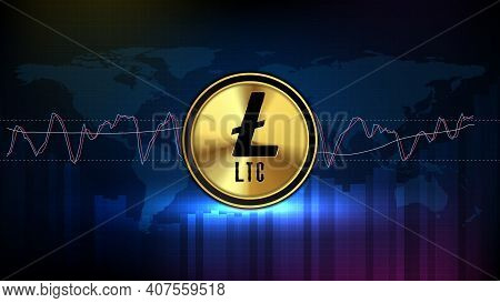 Abstract Futuristic Technology Background Of Ltc Litecoin Digital Cryptocurrency And Stochastic Mark