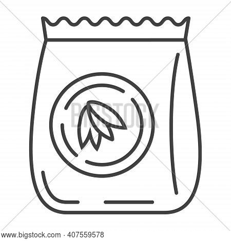 Oatmeal Flour Bag Icon Vector. Package Of Oat In Outline Style. Oatmeal Cereal, Chips And Fast Break