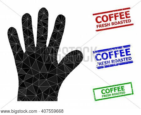 Triangle Hand Palm Polygonal Icon Illustration, And Distress Simple Coffee Fresh Roasted Stamp Seals