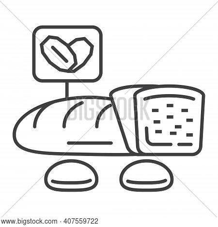 Oatmeal Bread Icon Vector. Cookies, Loaf In Outline Style. Oat Corns Symbols. Oatmeal Cereal And Fas