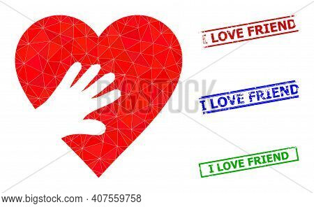 Triangle Hand Touch Heart Polygonal Icon Illustration, And Textured Simple I Love Friend Rubber Seal