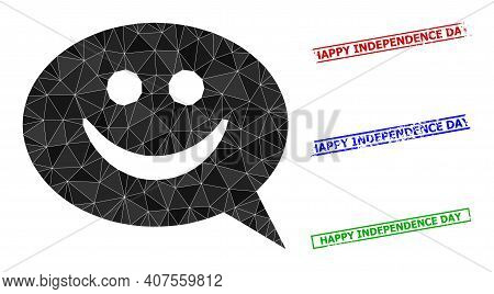 Triangle Happy Message Polygonal Icon Illustration, And Textured Simple Happy Independence Day Stamp