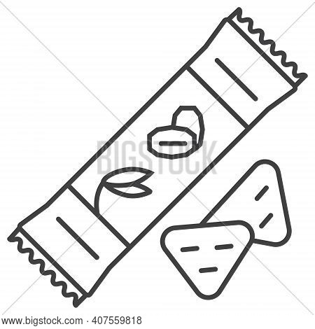 Granola Candy Bar Icon. Oatmeal Cookies, Cake Sign In Outline Style. Oatmeal Cereal, Chips And Fast