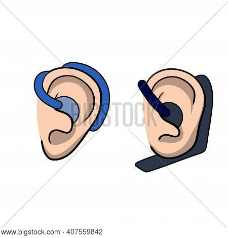 Bluetooth In Ear. Mobile Device For Hand-free Technology. Conversation With The Support Service. Car