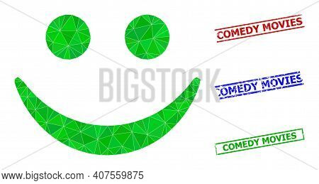 Triangle Happy Smile Polygonal Symbol Illustration, And Rubber Simple Comedy Movies Stamp Seals. Hap
