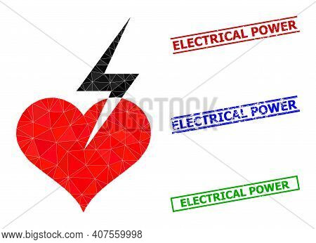 Triangle Heart Strike Polygonal Icon Illustration, And Scratched Simple Electrical Power Stamp Imita
