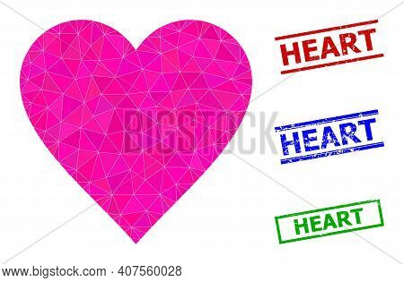 Triangle Heart Polygonal Icon Illustration, And Grunge Simple Heart Rubber Seals. Heart Icon Is Fill