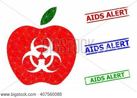 Triangle Infected Apple Polygonal Symbol Illustration, And Scratched Simple Aids Alert Seals. Infect