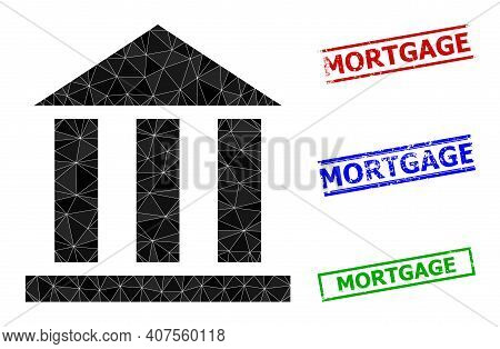 Triangle Library Office Polygonal Symbol Illustration, And Rough Simple Mortgage Stamp Imitations. L