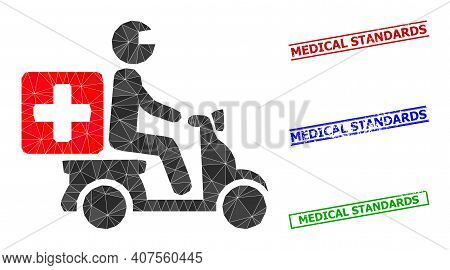 Triangle Medical Motorbike Polygonal Icon Illustration, And Distress Simple Medical Standards Waterm