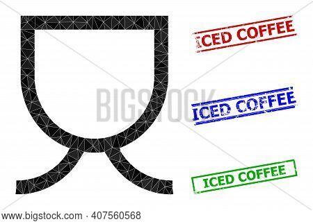 Triangle Mug Polygonal Icon Illustration, And Distress Simple Iced Coffee Stamp Seals. Mug Icon Is F