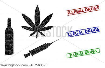 Triangle Narcotic Drugs Polygonal Symbol Illustration, And Rubber Simple Illegal Drugs Rubber Seals.