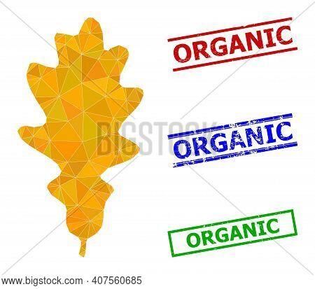 Triangle Oak Leaf Polygonal Symbol Illustration, And Distress Simple Organic Stamp Seals. Oak Leaf I