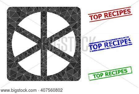 Triangle Pizza Box Polygonal Icon Illustration, And Textured Simple Top Recipes Stamp Seals. Pizza B