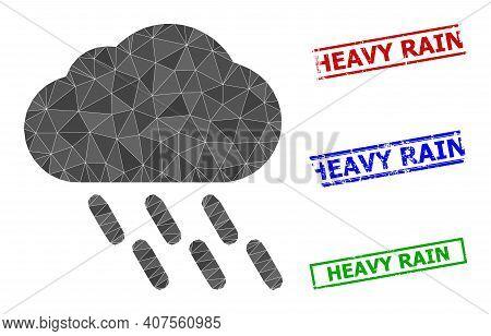 Triangle Rain Polygonal Icon Illustration, And Textured Simple Heavy Rain Rubber Seals. Rain Icon Is