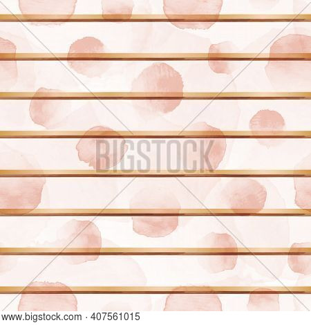 Vector watercolour pink dots rose gold stripes seamless pattern stains background print. Surface pattern design. Great for fabric, packaging, home decor, custom projects.
