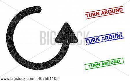 Triangle Rotate Left Arrow Polygonal Icon Illustration, And Grunge Simple Turn Around Stamp Imitatio
