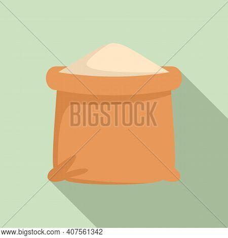 Flour Sack Icon. Flat Illustration Of Flour Sack Vector Icon For Web Design