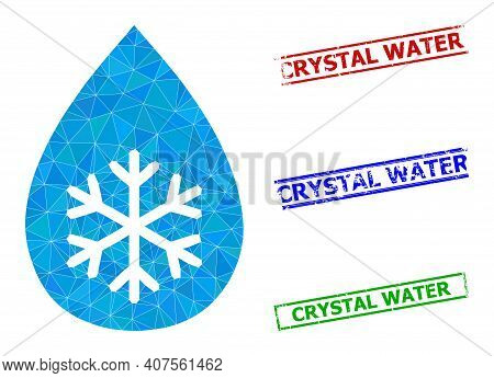Triangle Snow Fresh Drop Polygonal Icon Illustration, And Grunge Simple Crystal Water Seals. Snow Fr