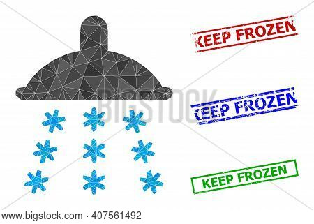 Triangle Snow Shower Polygonal 2d Illustration, And Rough Simple Keep Frozen Stamps. Snow Shower Ico