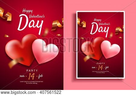 Valentine's Day Poster. Valentine's Day Party Flyer Template. Hearts On A Red Background With Serpen