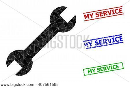 Triangle Spanner Polygonal Icon Illustration, And Distress Simple My Service Seals. Spanner Icon Is
