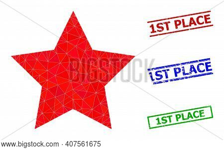 Triangle Star Polygonal 2d Illustration, And Textured Simple 1st Place Stamp Seals. Star Icon Is Fil