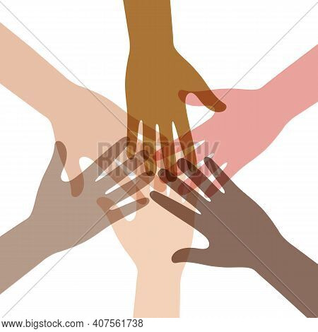 Illustration Of Unity And Teamwork Concept Of Different Nations. Group Of People Hands Together.